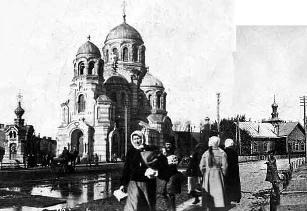 Героиня нашей историйки - деревянная Железнодорожная  церковь (справа), ее часовня (слева) и каменная Свято-Казанская церковь (в центре) на будущей площади Мясникова