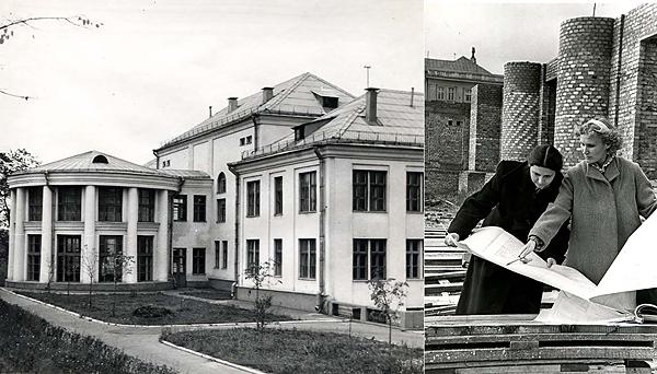 Архитектор Любовь Усова (справа), конструктор Алла Романовская и их Станция. Конец 50-х – начало 60-х