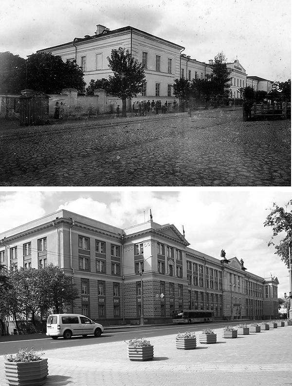 За забором семинарии, под деревом и были в 1905 году сфотографированы студенты. Сегодня на этом месте - достроенное крыло здания.