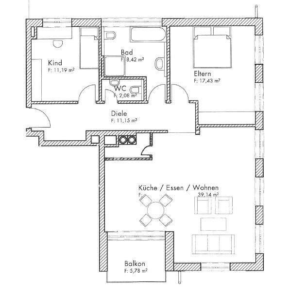 План квартиры, которую теперь арендует Екатерина