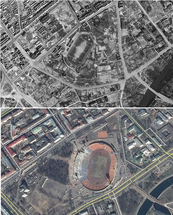Стадион «Динамо» на третий день войны и сегодня. Кладбища нет ни там, ни там.