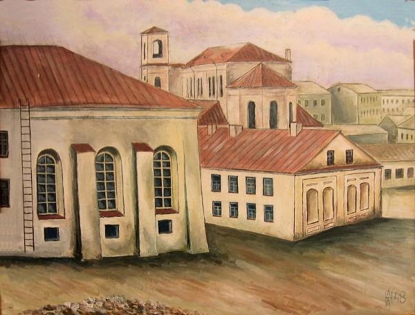 Справа хедер, слева - Холодная синагога. На заднем плане Петропавловский собор.