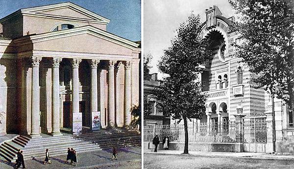 Русский театр - перестроенная хоральная синагога. Прежде здесь находилась сцена БелГОСЕТа.