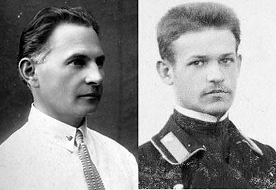 Слева врач Александр Семенов - незадолго до ареста. Справа... Быть может, этот семинарист на снимке 1905 года - он в юности.