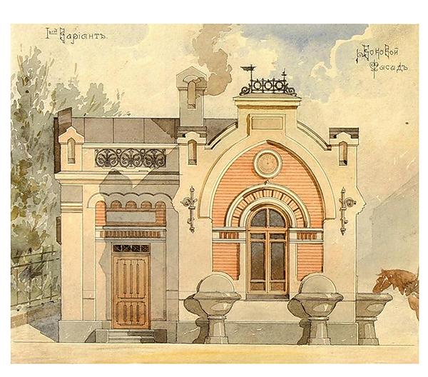 Проект водопойни (?) А. М. Кочетова, выполненный в 1907 году, впоследствии превратившийся в общественный туалет