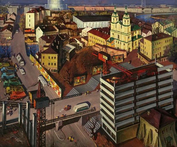 """Май Данциг """"Мой город древний, молодой"""" (1972). Служба в Холодной синагоге велась до начала строительства Белпромпроекта. Снесли синагогу после ввода здания в строй."""