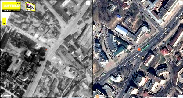 """Вид сверху в 1941 году и сегодня. Красной точкой отмечено место, где находился зал """"Париж"""""""