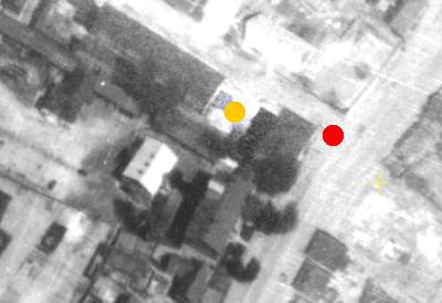 """Дома Лихтермана. Желтым отмечено пустое пространство, где прежде находился зал """"Париж""""."""