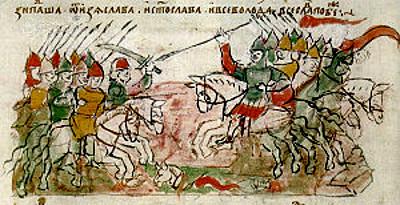 Битва на Немиге. Миниатюра из Радзивилловской летописи